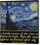 Van Gogh Motivational Quotes - Starry Night II Acrylic Print
