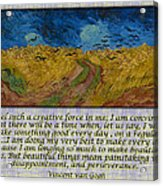 Van Gogh Motivational Quotes - Wheatfield With Crows II Acrylic Print