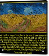 Van Gogh Motivational Quotes - Wheatfield With Crows Acrylic Print