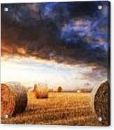 Van Gogh Style Digital Painting Beautiful Golden Hour Hay Bales Sunset Landscape Acrylic Print