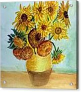 van Gogh Sunflowers in watercolor Acrylic Print