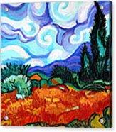 Van Goghs Wheat Field With Cypress Acrylic Print