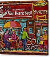 Van Horne Bagel With Yangtze Restaurant Montreal Street Scene Acrylic Print by Carole Spandau