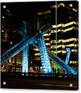 Vancouver - 2010 Olympic Cauldron Lit At Night Acrylic Print