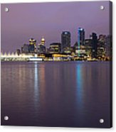 Vancouver Bc City Skyline At Dawn Acrylic Print