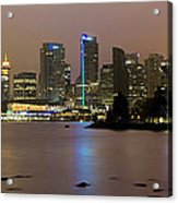Vancouver Bc City Skyline At Night Acrylic Print