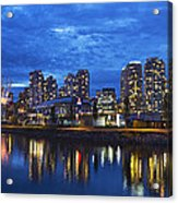 Vancouver Bc City Skyline With Bc Place At Blue Hour Acrylic Print