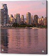 Vancouver Bc Skyline Along False Creek At Dusk Acrylic Print