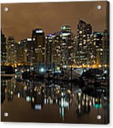 Vancouver Bc Skyline From Stanley Park At Nigh Acrylic Print
