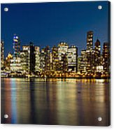 Vancouver Bc Skyline From Stanley Park During Blue Hour Acrylic Print