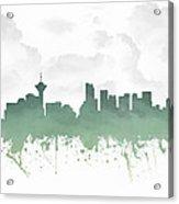 Vancouver British Columbia Skyline - Teal 03 Acrylic Print