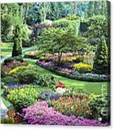 Vancouver Butchart Sunken Gardens Beautiful Flowers No People Panorama Acrylic Print