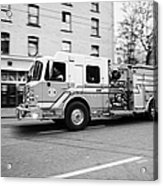 Vancouver Fire Rescue Services Truck Engine 2 Speeding Through Downtown City Streets Bc Canada Delib Acrylic Print by Joe Fox
