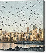Vancouver Skyline With Crows Acrylic Print