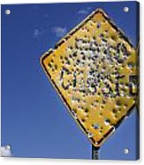 Vandalized Road Sign Many Bullet Holes Acrylic Print
