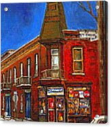 Vanishing Montreal Landmark Depanneur Ste. Emilie And Bourget Montreal Painting By Carole Spandau  Acrylic Print