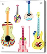 Various Kinds Of Stringed Instruments Acrylic Print