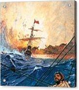 Vasco Da Gama's Ships Rounding The Cape Acrylic Print by English School
