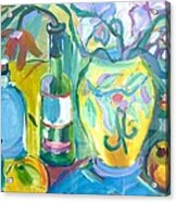 Vase And Bottles In Still Life Acrylic Print