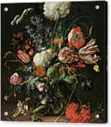 Vase Of Flowers Acrylic Print by Jan Davidsz De Heem