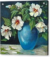 Vase Of Rose Of Sharons Acrylic Print by Jolyn Kuhn