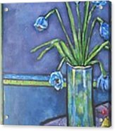 Vase With Blue Flowers And Cherries Acrylic Print