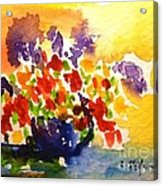 Vase With Multicolored Flowers Acrylic Print