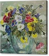 Vase With Pansies Acrylic Print