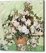 Vase With Pink Roses Acrylic Print