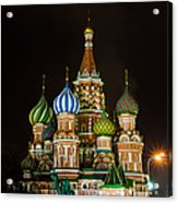 Vasily The Blessed Cathedral At Night - Featured 3 Acrylic Print