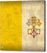 Vatican City Flag Vintage Distressed Finish Acrylic Print