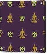 Vector Design Yoga Pose Pattern Acrylic Print