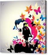 Vector Floral Girl Acrylic Print