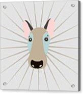 Vector Funny Head Of Dog On Vintage Acrylic Print