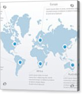 Vector World Map Infographic Symbol  North South America, Europe, Asia,  Africa, Australia Map Pointers  International Illustration Sign  Template
