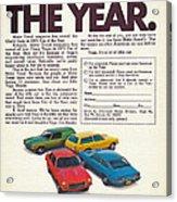 Vega - Car Of The Year 1971 Acrylic Print