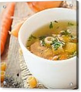 Vegetable Soup With Pasta Acrylic Print by Mythja  Photography