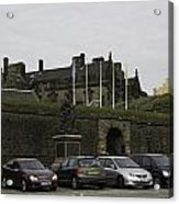 Vehicles At The Parking Lot Of Stirling Castle Acrylic Print
