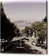Vehicles On A Busy Road Also Used By The Tram Service Acrylic Print