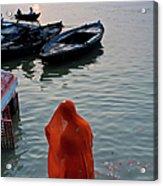 Veiled Woman In Ganges At Varanasi Acrylic Print