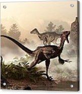 Velociraptors Prowling The Shoreline Acrylic Print
