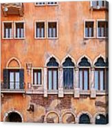Venetian Building Wall With Windows Architectural Texture Acrylic Print