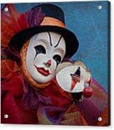 Venetian Carnival - Portrait Of Clown With Mask Acrylic Print
