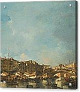 Venice A View Of The Rialto Bridge Looking North From The Fondamenta Del Carbon Acrylic Print