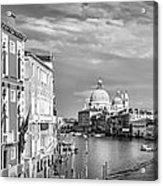 Venice Canal Grande Santa Maria Della Salute Black And White Acrylic Print