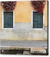 Venice Canal Shutters With Window Flowers Acrylic Print