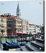 Venice Gondolas On Canal Grande Acrylic Print