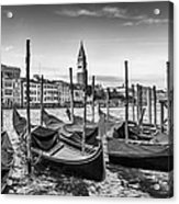 Venice Grand Canal And Goldolas In Black And White Acrylic Print
