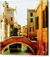 Venice Italy Canal With Boats And Laundry Acrylic Print
