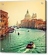 Venice Italy Grand Canal And Basilica Santa Maria Della Salute At Sunset Acrylic Print